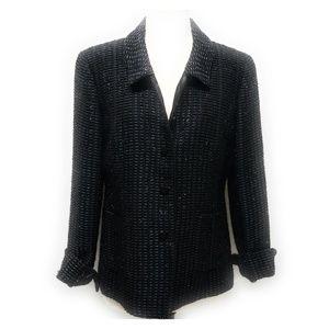 DONCASTER Womens Black Tinsel Tweed Blazer Size 10